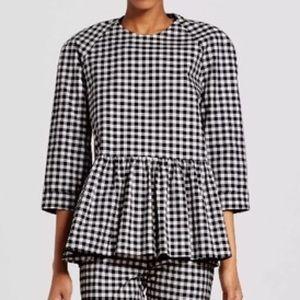 Victoria Beckham gingham peplum blouse